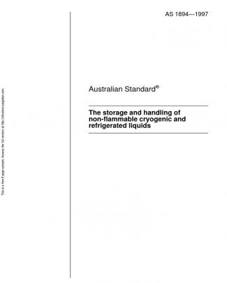 As 1894-1997 The Storage And Handling Of Non-flammable Cryogenic And Refrigerated Liquids