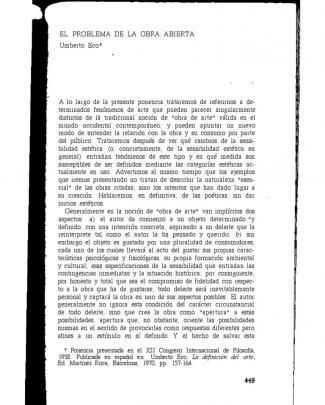 1. El Problema De La Obra Abierta.