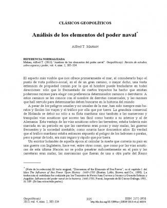 Mahan, Alfred. Analisis De Los Elementos Del Poder Naval