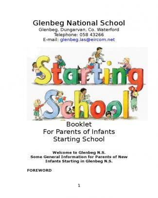 Glenbeg Ns Booklet For Junior Infants