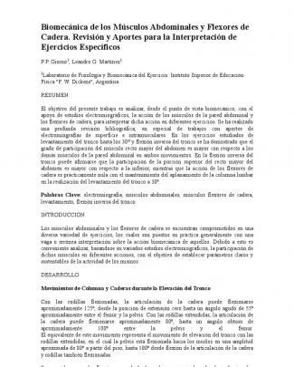 Biomecánica De Los Músculos Abdominales Y Flexores De Cadera. Revisión Y Aportes Para La Interpretación De Ejercicios Específicos