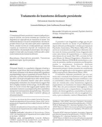 Transtorno Delirante Persistente - Tratamento.