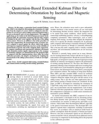 Quaternion-based Extended Kalman Filter For Determining Orientation By Inertial And Magnetic Sensing