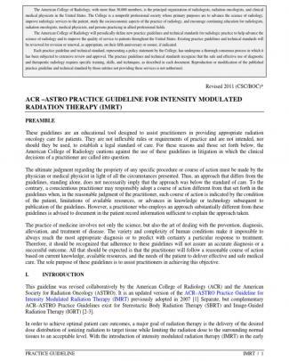 Imrt - Acr - Astro Guidelines