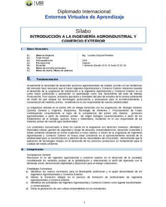 Sílabo Introducción A La Ingeniería Agroindustrial Y Comercio Exterior