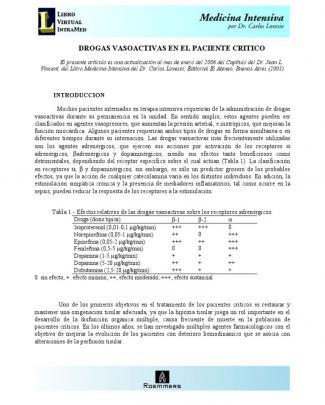 Drogas Vasoactivas En El Paciente Critico