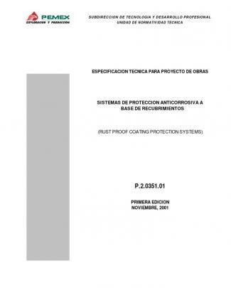 Especificacion Pemex P.2.0351.01.-sistemas De Proteccion Anticorrosiva A Base De Recubrimientos.