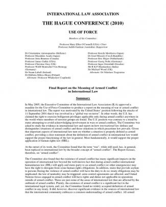 Final Report Meaning Of Armed Conflict