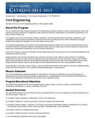 Drexel Civil Engineering Study Plan