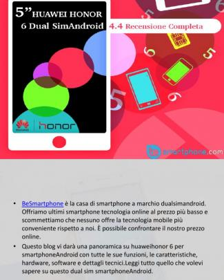 """5"""" Huawei Honor 6 Dual Sim Android 4.4 Recensione Completa."""