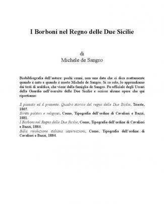 Michele De Sangro - I Borboni Nel Regno Delle Due Sicilie
