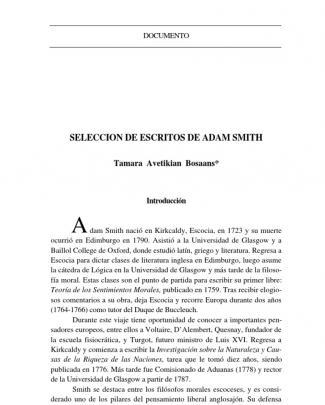 Seleccion De Escritos De Adam Smith - Tamara Avetikian