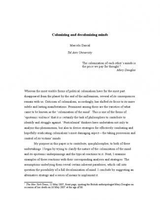 Colonizing And Decolonizing Minds- Dascal