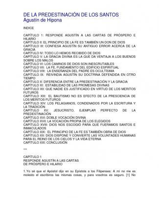 Agustin De Hipona-la Predestinacion De Los Santos