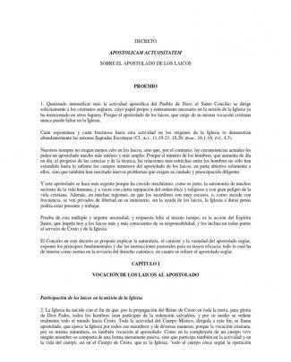 """Concilio Vaticano Ii, Decreto """"apostolicam Actuositatem (1965), Sobre El Apostolado De Los Laicos."""