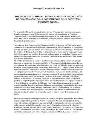 Ratzinger, Joseph - Ponencia Del Cardenal Joseph Ratzinger Con Ocasion De Los Cien Años De La Constitucion De La Pontificia Comision Biblica