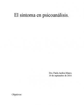 El Síntoma En Psicoanálisis