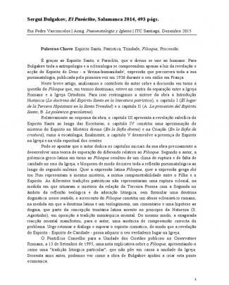 S. Bulkavov, El Paráclito