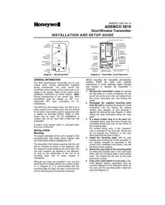 Honeywell 5816 Install Guide