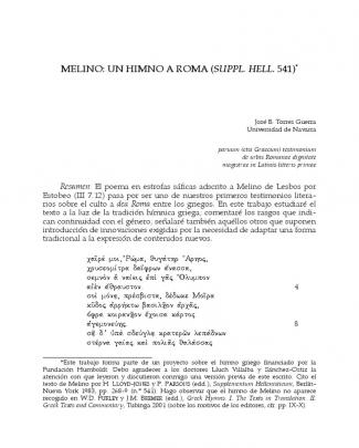 Melino De Lesbos, Himno A Roma