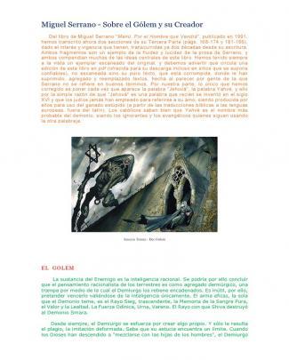 Miguel Serrano - Sobre El Gólem Y Su Creador