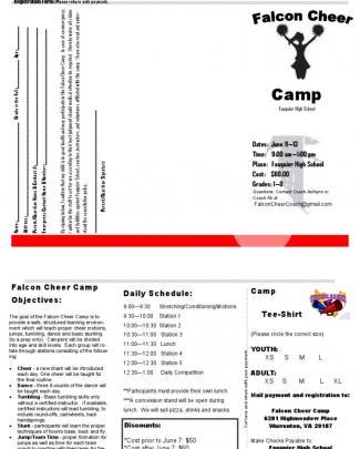 Fauquier Summer Cheer Camp Registration Form