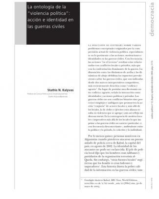 Kalyvas, Stathis (2004). La Ontología De La Violencia Política; Acción E Identitad En Las Guerras Civiles