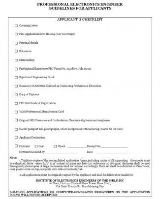 Pece Checklist