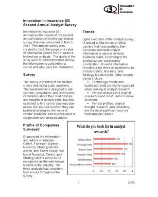 I3 Analyst Survey 2012
