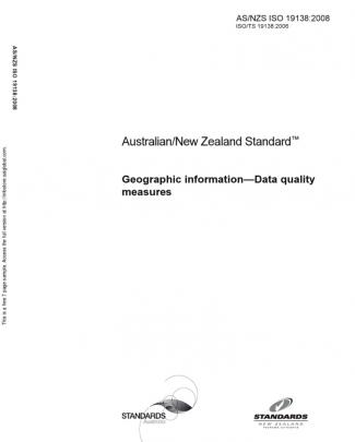 As Nzs Iso 19138-2008 Geographic Information - Data Quality Measures