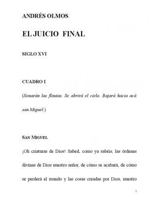 Auto De El Juicio Final Andrés Olmos Texto