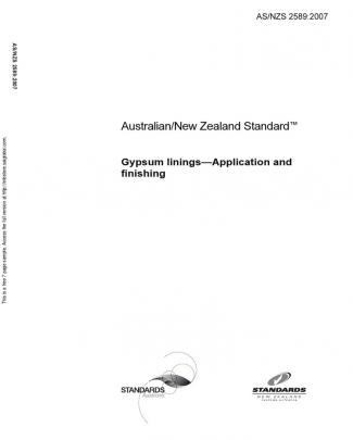 As Nzs 2589-2007 Gypsum Linings - Application And Finishing