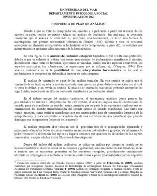 Propuesta De Plan De Analisis (resumen Analisis Categorial)