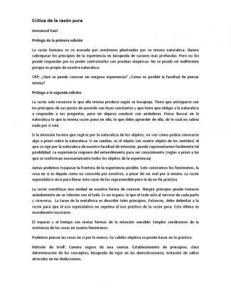 Resumen Crítica De La Razón Pura (doctrina Trascendental De Los Elementos)