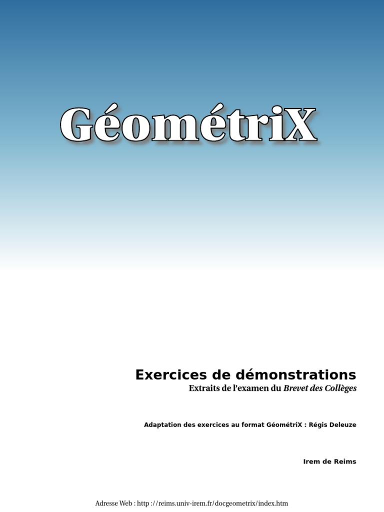 géométrix Exercices De Brevet - ID:5c4a204a4e8bf