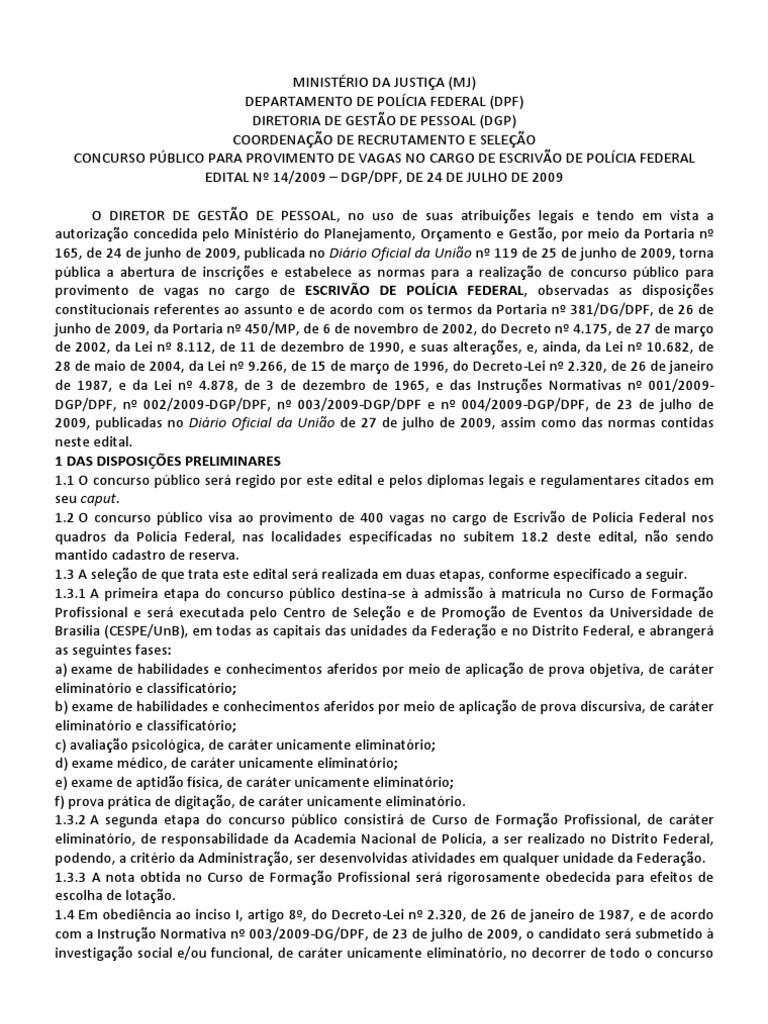 Edital Escrivao Policia Federal 2009 - ID:5c632cd423f13